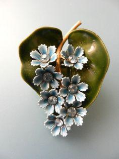 Sweet blue sky cluster flowers Brooch crystals by RAKcreations