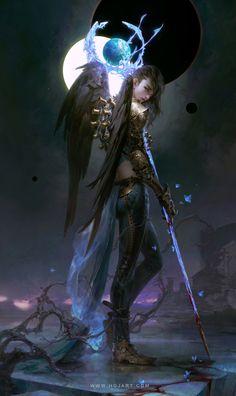Fantasy Demon, Fantasy Kunst, Dark Fantasy, Fantasy Art Women, Fantasy Girl, Fantasy Character Design, Character Art, Character Inspiration, Angels And Demons