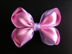 Украшение на заколку Канзаши / Розово-сиреневый бант / Kanzashi Bow - YouTube
