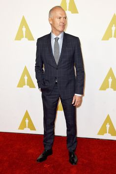 The 2015 Academy Awards nominees came together ahead of this month's ceremony Michael Keaton, Celebrity Photos, Style Me, Suit Jacket, Celebrities, Red Carpet, Jackets, Walking, Men