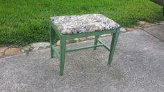 Repainted antique vanity stool by SweetD Creations.