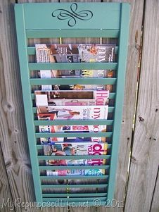 Magazine rack from a shutter :: Daune | Cottage in the Oakss clipboard on Hometalk :: Hometalk