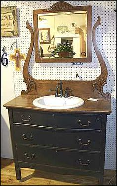 Photo Of Front View Antique Bathroom Vanity Dresser With Sink And Price Pfister Faucet