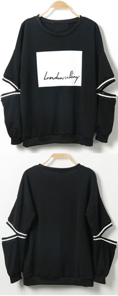 Funny cool pullover sweatshirt in black with cutout long sleeve at romwe. Look Fashion, Korean Fashion, Girl Fashion, Fashion Outfits, Womens Fashion, Fashion Design, Cool Outfits, Casual Outfits, Sweater Outfits