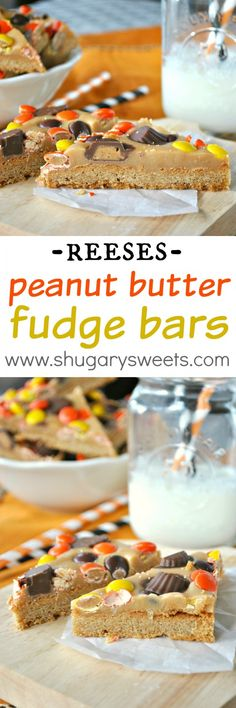Peanut Butter Cookie Bars- triple layer #peanutbutter bars with Reese's cups and pieces!