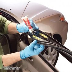 Repairing and Maintaining Car Door Weather Stripping Repair torn weather stripping on car doors quickly and easily, and treat it with silicone spray to prevent winter freeze-up and further weather stripping damage. Car Cleaning Hacks, Car Hacks, Door Weather Stripping, Automobile, Car Fix, Car Restoration, Diy Car, Car Detailing, Automotive Detailing