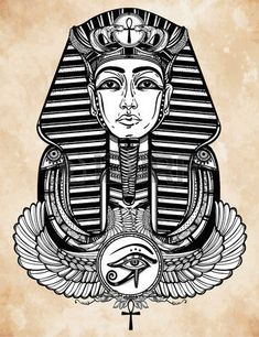 Hand-drawn cru art du tatouage illustration vectorielle du pharaon avec ailes Ankh.