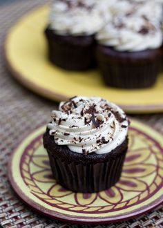 Chocolate Cupcakes with Mocha Buttercream Frosting from Erica's Sweet Tooth. Vegan and gluten free.
