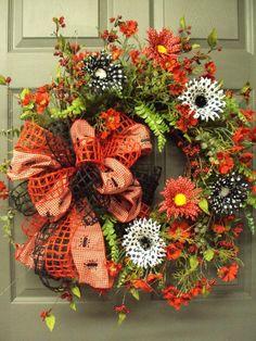 Summer Wreath, Picnic Wreath, Front Door Wreath, Spring Wreath, Red Black Wreath, Kitchen Decor via Etsy by iris-flower