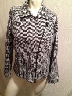 Blazer Jacket by Ellen Tracy, Herringbone Grey & Black, Size M Cotten Wool #EllenTracy #Blazer
