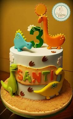 1st Birthday Party Themes, Baby Birthday Cakes, Dinosaur First Birthday, 1st Boy Birthday, Dinosaur Cakes For Boys, Dino Cake, Party Decoration, Occasion Cakes, Themed Cakes