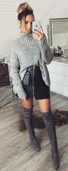#preppy #fashion /  Grey Turtleneck Knit // Zipped Leather Skirt // Dark Over The Knee Boots