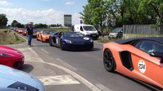Lamborghini's cruising down the road