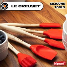 LE CREUSET'S SILICONE TOOLS  Le Creuset's range of silicone kitchen tools is synonymous with quality, durability and versatility in the kitchen. Crafted from 100% premium quality silicone, these items are non-stick and non-abrasive, will withstand temperatures of up to 250 degrees C, and with their wooden handles and removable heads they are dishwasher safe, and stain resistant.  http://www.binuns.co.za/Brands/LeCreuset/SiliconeTools.aspx