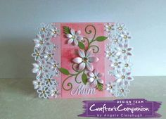 "5"" x 7"" Card using Crafter's Companion Die'sire Fancy Edge'able Floral Dance. Designed by Angela Clerehugh #crafterscompanion"