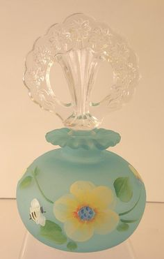 Fenton Aquamarine Hand Painted Bell W/original Label And Artist Signed To Enjoy High Reputation In The International Market Glass Pottery & Glass