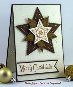 handmade card from Cat's Ink.Corporated: Merry Monday #147 - Christmas Star .. browns with metallic embossing ... luv it! ... Stampin' Up!