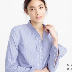 J. Crew ruffle button down. NWT NWT j. Crew button down. Size 2. Has classy ruffle detail and cuffs and buttons J. Crew Tops Button Down Shirts