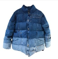 Denim inspiration - The denim puffer – Denim inspiration Fashion Mode, Denim Fashion, Look Fashion, Fashion Design, Fashion Outfits, Jean Jacket Outfits, Denim Outfit, Look Jean, Patch Jeans