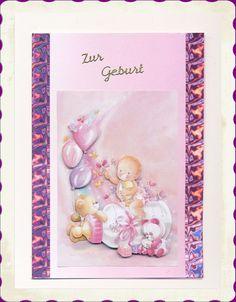 selbstgemachte Glückwunschkarte zur Geburt http://de.dawanda.com/shop/sandras-bastelzauber