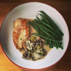creamy chicken with a leek and mushroom sauce