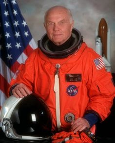 John Glenn and Friendship 7 - 50 year anniversary.    This is John Glenn's official Space Shuttle STS-95 crew portrait. Glenn and the rest of his crew launched aboard Discovery in 1998, making him America's oldest astronaut.