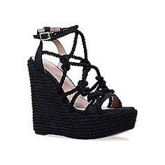 KG Kurt Geiger - Black 'Notty' high heel wedge sandals