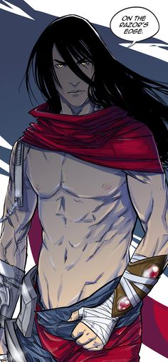 Anime picture 2542x5463 with  league of legends (game) talon (league of legends) uger long hair single tall image highres black hair light erotic looking at viewer yellow eyes lips male scarf bandage (bandages)