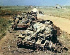 Des Panzer 4 détruits près de Lanuvio