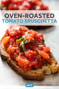 When fresh tomatoes are out of season, this should be your go-to bruschetta recipe. By gently oven-roasting canned tomatoes (which are packed when truly ripe), you end up with a deeply flavored, jammy, and delicious topping. You won't even miss the fresh tomatoes—guaranteed.