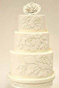 Ivory Rose Tiered Wedding Cake Photo