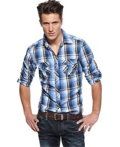 INC International Concepts Shirt, Long Sleeve Taylor Plaid Shirt - Mens Casual Shirts - Macy's