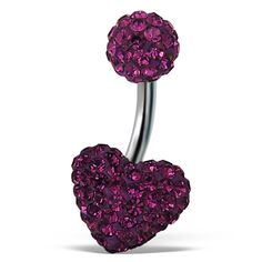 #Crystal Hear Design with Ball End #Amethyst Belly Button Ring Wholesale Now