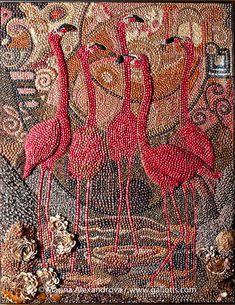 Seashell flamingo mosaics by Marina Alexandrova Mosaic Birds, Mosaic Art, Mosaic Glass, Glass Art, Stained Glass, Paper Mosaic, Flamingo Art, Pink Flamingos, Flamingo Gifts