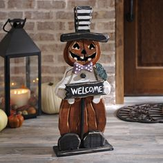 Greet your guests with this Halloween Welcome Pumpkin Man! Place it on your covered front porch or in your entryway, and all your guests will smile when they see it! It is made of wood and features distressed colors, perfect for the fall season!