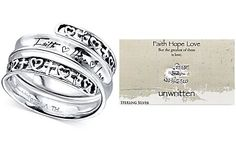 Unwritten Cross and Heart Message Wrap Ring in Sterling Silver