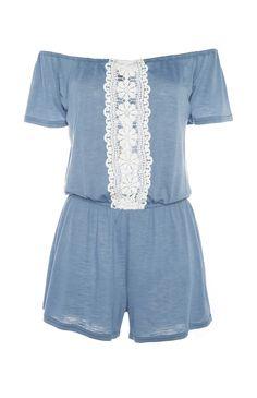 Blue Lace Insert Playsuit