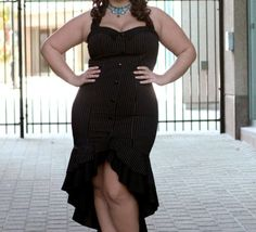 Gangster Plus Size Pinstripe Dress