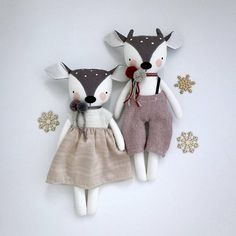 Luckyjuju dolls are handmade from mostly new, but sometimes vintage or upcycled fabrics, yarn, and 100% wool felt. The face has hand drawn, hand painted and hand embroidered elements. They are made to be played with and loved by gentle children over 3. This fawn comes in a lovely dress with