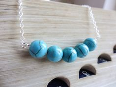 Turquoise necklace - natural gemstone and sterling silver