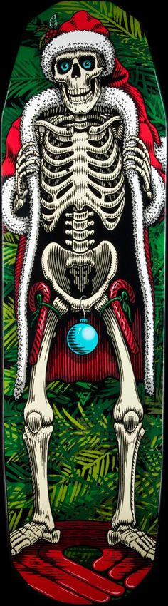 "Powell Peralta Holiday 2014 Skateboard Deck: 8.75"" x 32"" with 14.25"" wheel base. Get the blue balls while we still have some in stock. ""Skate to destroy it or collect it."" pro skateboarder Art Palacio"