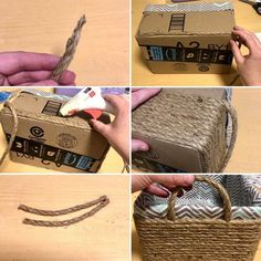DIY rope basket- Upcycle your old box into the perfect storage solution. Organize your bathroom or your home with this great budget friendly upcycle. Organize your home on a budget. diy home on a budget DIY Rope Basket Modern Baskets, Budget Planer, Rope Basket, Old Boxes, Boho Diy, Storage Baskets, Diy Storage Boxes, Dollar Stores, Home Crafts