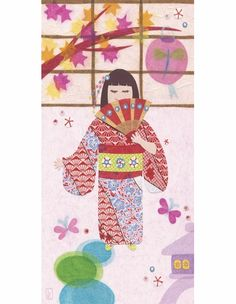 Japanese Lanterns With Fan Girl Canvas Reproduction