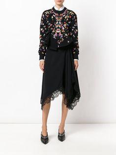 Givenchy Saia assimétrica com acabamento de renda