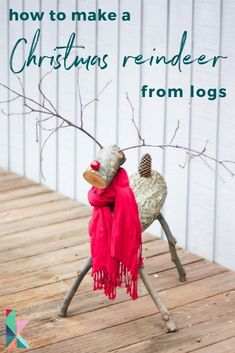 Getting ready for Christmas, here's a an easy and quick DIY Christmas reindeer tutorial. Diy Christmas Reindeer, Red Christmas Ornaments, Christmas Post, Rustic Christmas, Christmas Holidays, Christmas Ideas, Wooden Reindeer, Antique Christmas, Primitive Christmas
