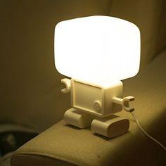 E-Plaza Robot Forme Intelligent USB Rechargeable LED Nuit Table Lampe Voix Contrôle Veilleuse pour Enfants (Blanc)