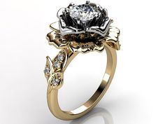 14k two tone yellow and white gold diamond unusual by Jewelice
