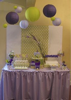 Green purple Japanese party dessert table