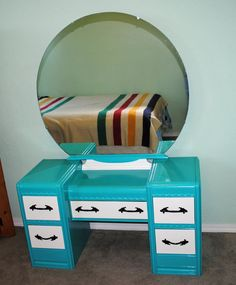 Waterfall Vanity Dresser with Mirror Rejuvenated by Reviveit