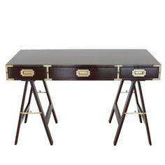 Orange Furniture - Maroon Lacquered Campaign Desk